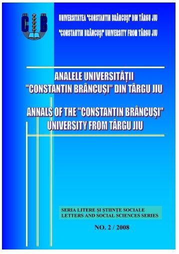 """NO. 2 / 2008 - Universitatea """"Constantin Brâncuşi"""""""