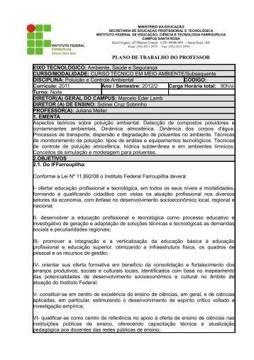 CURSO TÉCNICO EM MEIO AMBIENTE/Subsequente DISCIPLINA