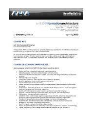 Information Architecture - Syllabus - KCC New Media Arts