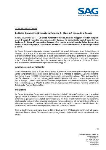 La Swiss Automotive Group rileva l'azienda E. Klaus AG con sede a ...