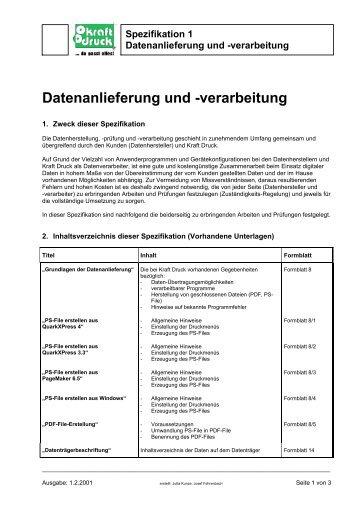 Datenanlieferung und Œverarbeitung