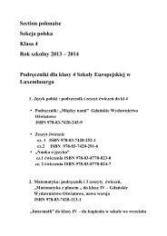Section polonaise Sekcja polska Klasa 4 Rok szkolny 2013 – 2014 ...