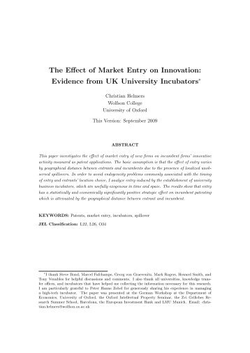 The Effect of Market Entry on Innovation: Evidence from UK ...