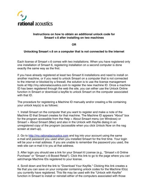 Registering a Smaart 6 Installation Manually pdf - Rational