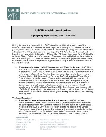 USCIB Washington Update - U.S. Council for International Business