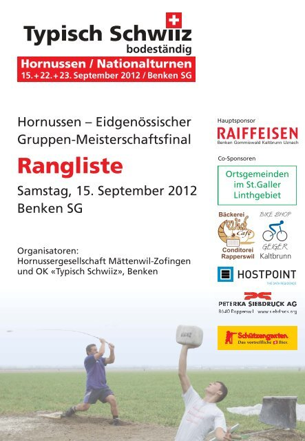Eidgenössischer Gruppenmeisterschaftsfinal 2012 Benken SG ...