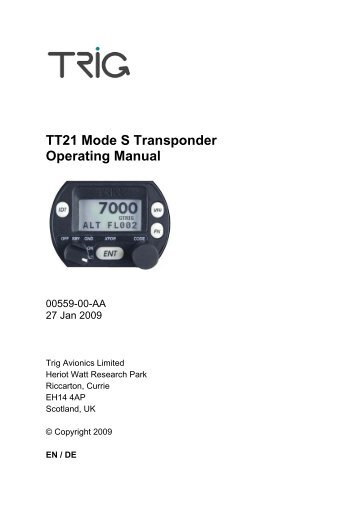TT21 Mode S Transponder Operating Manual - Wings and Wheels