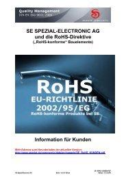 SE SPEZIAL-ELECTRONIC AG und die RoHS-Direktive Information ...