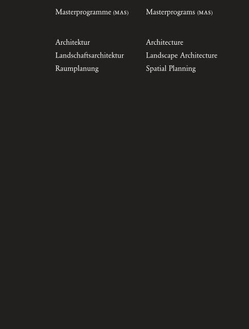 Architektur Landschaftsarchitektur Raumplanung Architecture ...