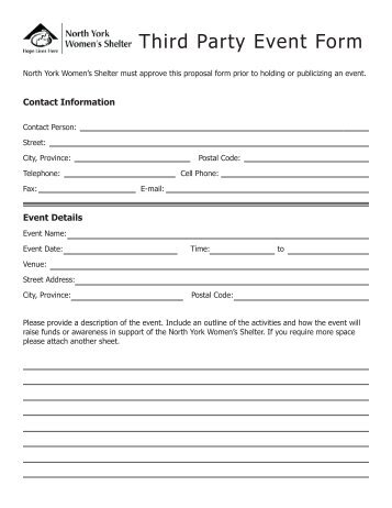 Third Party Special Event Form - The Center for Women and Families