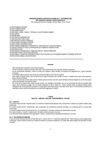 Condizioni Generali Unificate - Gruppo Lavoro Micotossine