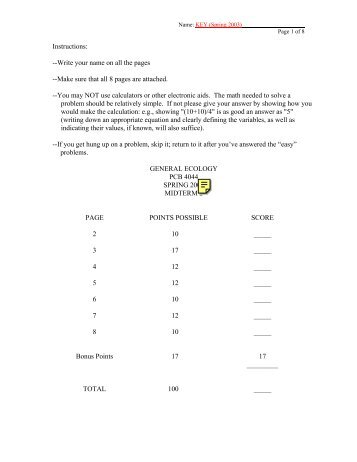Instructions: --Write your name on all the pages --Make sure that all ...