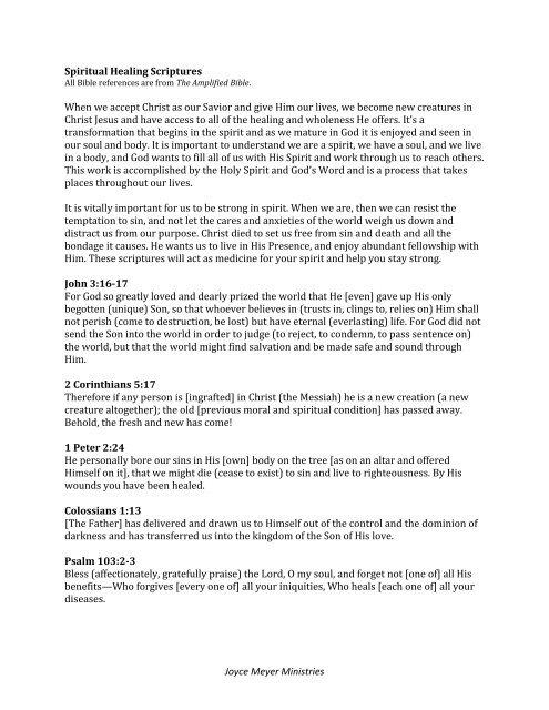 Joyce Meyer Ministries Spiritual Healing Scriptures When we