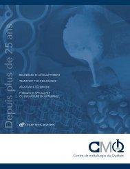 Brochure corporative (bilingue) - Centre de métallurgie du Québec