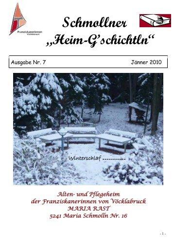 Heim-G´schichtln - Alten- und Pflegeheim Maria Rast in Maria ...