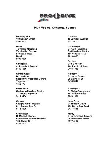 Dive Medical Contacts, Sydney - Online Scuba Diving Booking System
