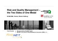 Risk and Quality Management – the Two Sides of One Medal - EOQ