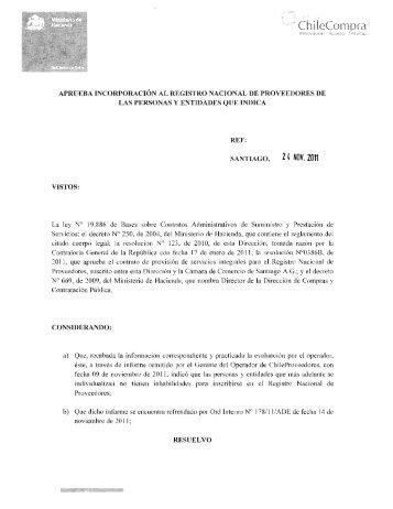Resolución Proveedores Inscritos Octubre 2011 - Chileproveedores
