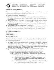 Sommaire de décision disciplinaire Le présent sommaire de la ...