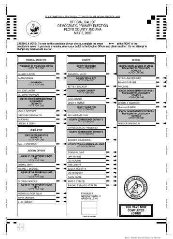 official ballot democratic primary election floyd county, indiana may ...
