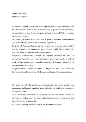 Relazione alla manovra finanziaria 2005 - Giunta - Provincia ...