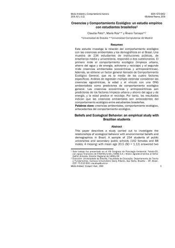 Creencias y Comportamiento Ecológico - Medio Ambiente y ...