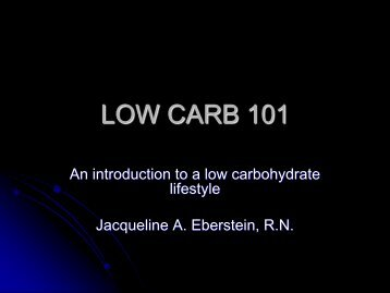LOW CARB 101 - Nutrition and Metabolism Society