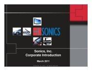 Sonics, Inc. Corporate Introduction - OCP-IP