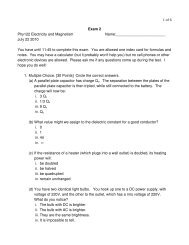 1 of 6 Exam 2 Phy122 Electricity and Magnetism Name: July 22 ...