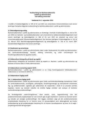 Bachelor i Politik/Administration, 2012 - Det ...