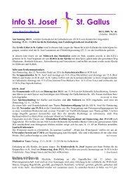 Info St. Josef St. Gallus - Pfarreiengemeinschaft St. Josef & St. Gallus