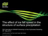 The effect of ice fall speed in the structure of surface precipitation