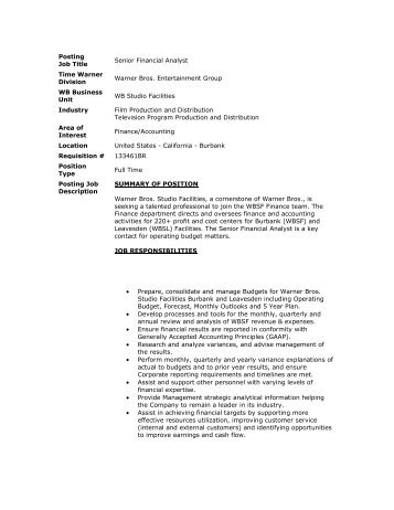 Job Description Senior Financial Analyst FpA What If    Students