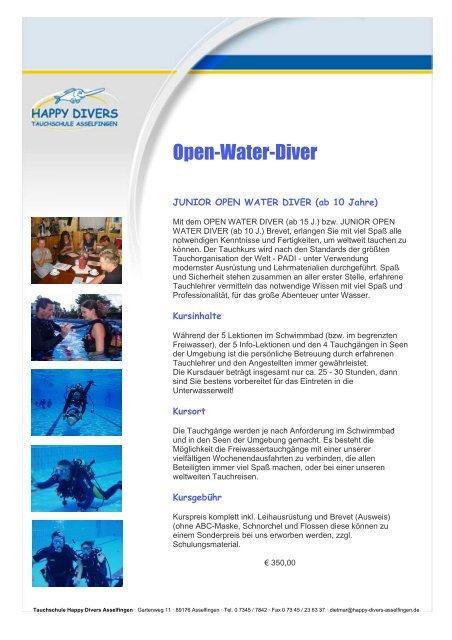 Ausbildung - Open Water Diver - Happy Divers Asselfingen