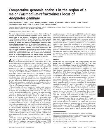 Comparative genomic analysis in the region of a major Plasmodium ...