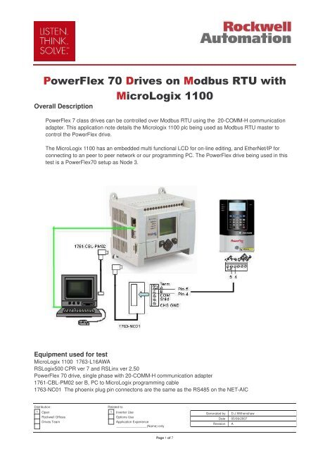 PowerFlex 70 with MicroLogix1100 on Modbus - Info PLC