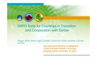 WIPO Tools for Countries in Transition and Cooperation with Serbia