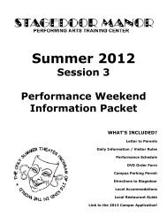 Session 3 Performance Weekend Guide - Stagedoor Manor