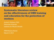 Systematic literature review on the effectiveness of OHS training and ...