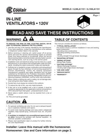 in-line ventilators • 120v read and save these ... - American Coolair