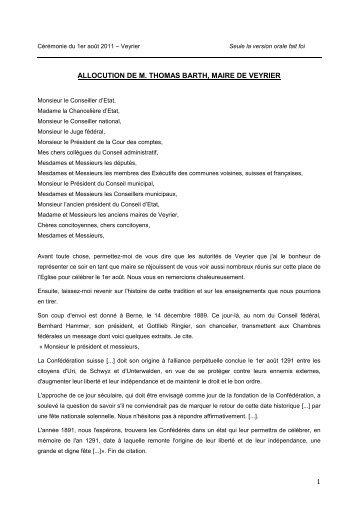 Discours du 1er août 2011 (PDF) - Veyrier