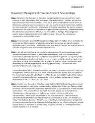 Classroom Management: Teacher-Student Relationships