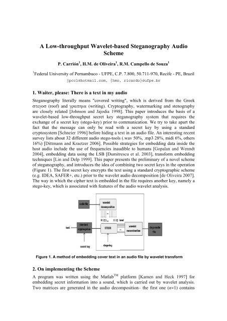 A Low-throughput Wavelet-based Steganography Audio Scheme