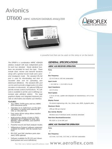 DT600 ARINC 429/629 DATABUS ANALYZER Data Sheet - Adler ...