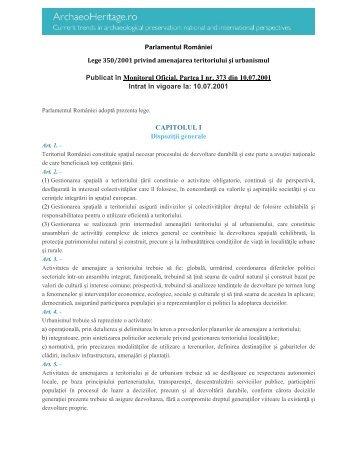 Legea nr. 350/2001 privind amenajarea ... - ArchaeoHeritage