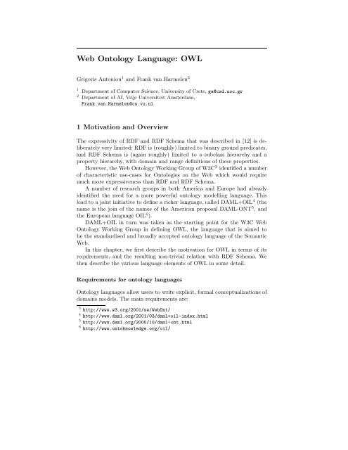Web Ontology Language: OWL - Vrije Universiteit Amsterdam
