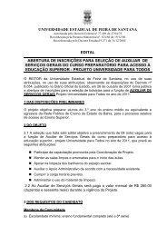 Edital Serviços Gerais - Universidade Estadual de Feira de Santana
