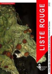 Liste rouge des espèces menacées en Suisse: Lichens ... - WSL
