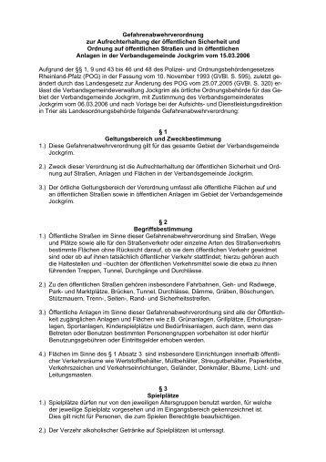 Gefahrenabwehrverordnung der Verbandsgemeinde