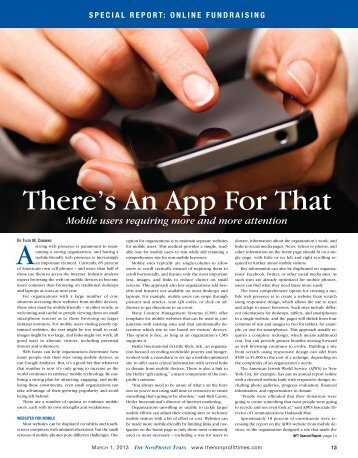There's An App For That - The NonProfit Times